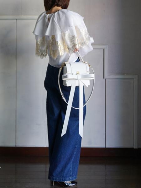 overlace.gold foil lace linen top