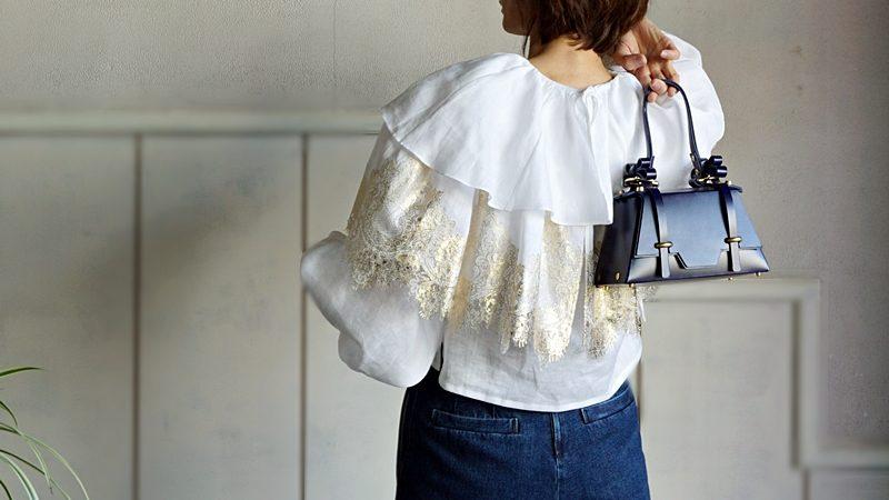 overlace,linen gold foil top