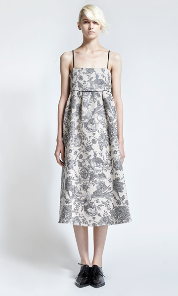 leur logette flower jacquard dress