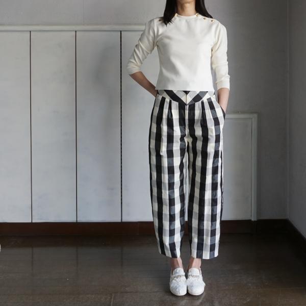leur logette cotton knit & check pants